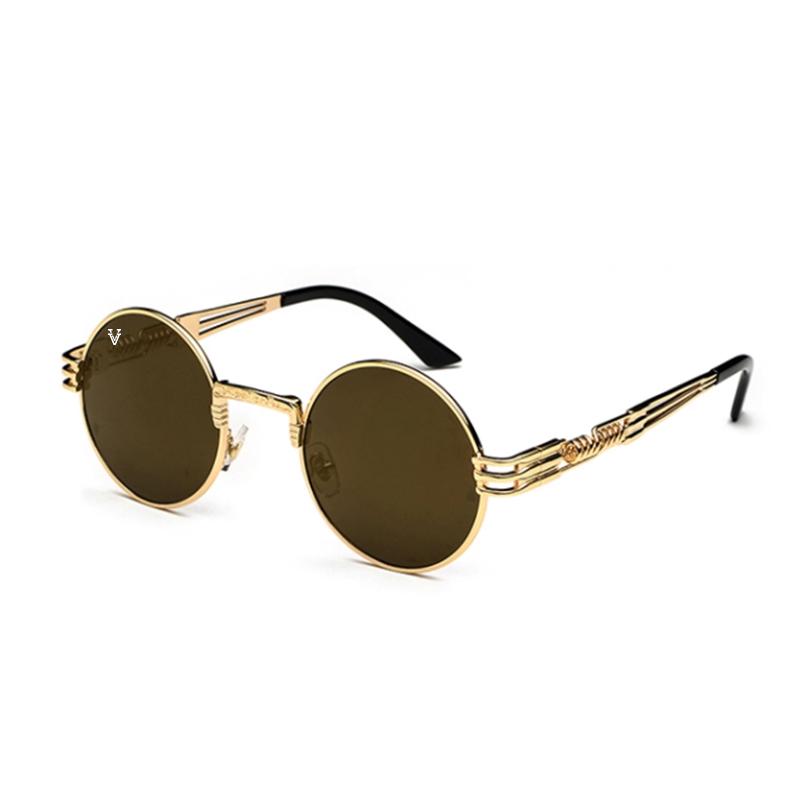 Solglasögon med guld spegelglas och guld båge