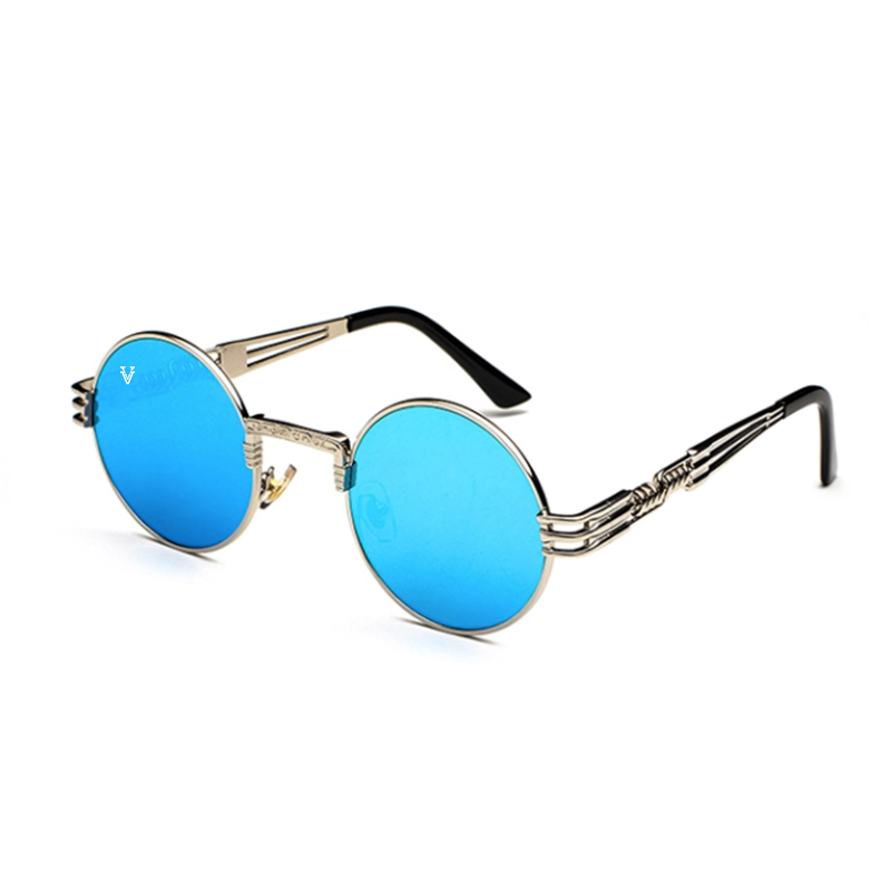 Solglasögon med blått spegelglas och silver båge