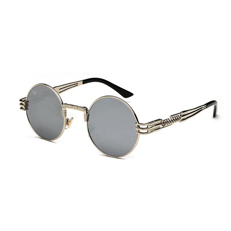 Runda solglasögon helt i silver