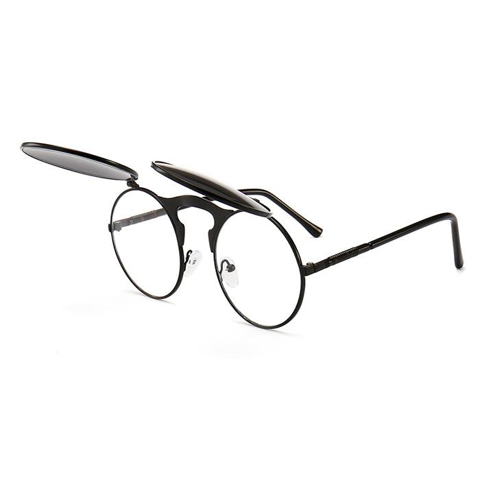 Uppfällbara svarta runda solglasögon