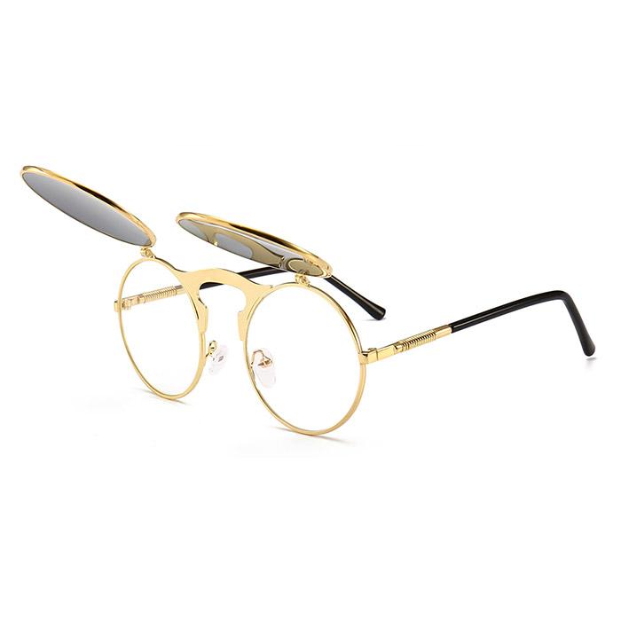 Uppfällbara guldiga runda solglasögon