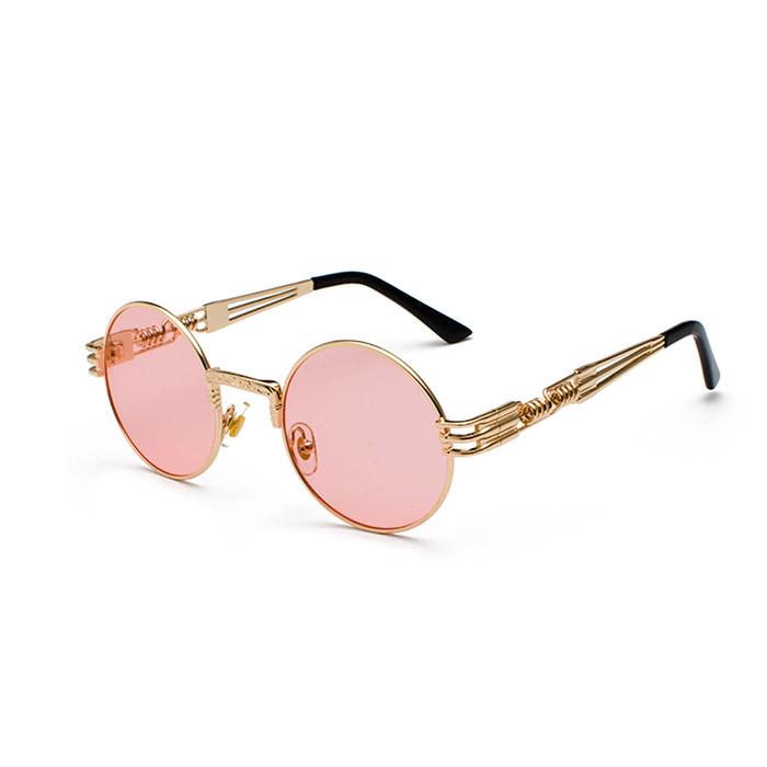 Runda solglasögon med genomskinligt rosa glas